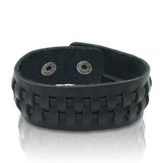 Gioelli Black Leather Adjustable Weave Bracelet