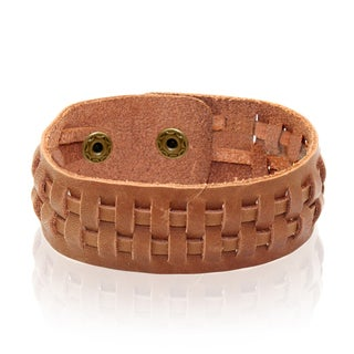 Gioelli Brown Leather Adjustable Weave Bracelet