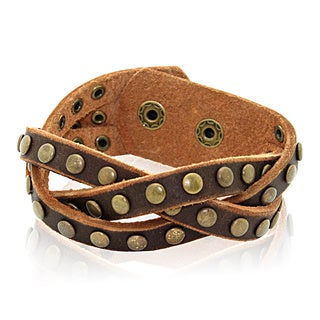 Gioelli Brown Leather Round Stud Braided Bracelet
