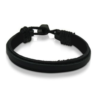 Gioelli Black Leather Classic 8-inch Bracelet