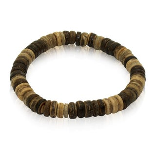 Gioelli Brown Leather Adjustable Distressed Beads Bracelet