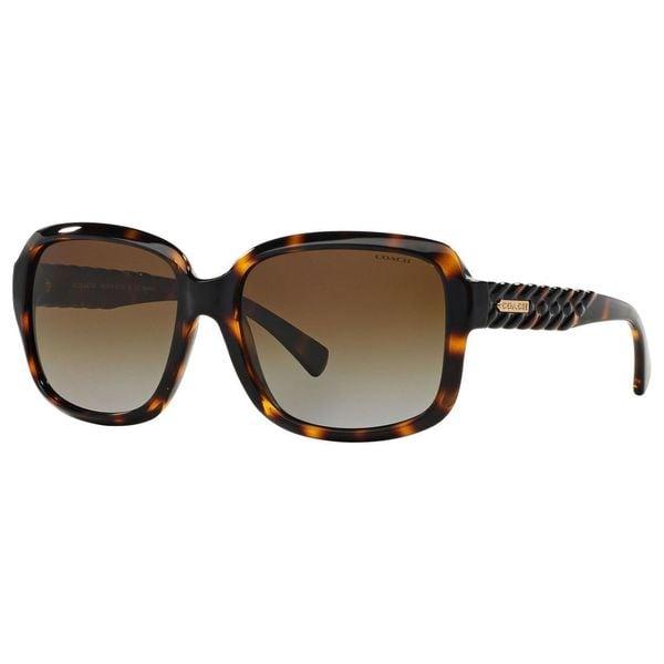 85df7e641b Coach Women  x27 s HC8141 L112 5120T5 Plastic Square Polarized Sunglasses -  Tortoise
