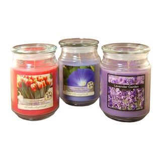 18-ounce Floral Scented Candles (Set of 3)