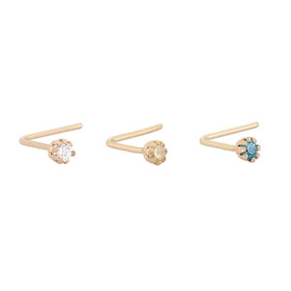 Shop Gioelli 10k Yellow Gold Rainbow Cubic Zirconia 22 Gauge Nose Ring Set Overstock 10305310