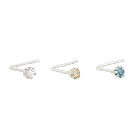 Gioelli 10k White Gold Rainbow Cubic Zirconia .22 Gauge Nose Ring Set