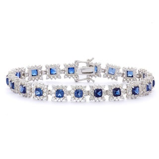 Gioelli Sterling Silver Blue and White Created Sapphire Link Bracelet