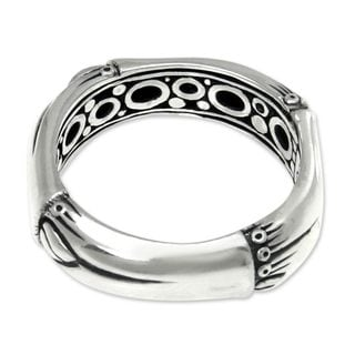 Handcrafted Sterling Silver 'Bamboo Circle' Ring (Indonesia)