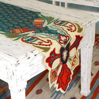Handmade Polyester Applique 'Golden Paisley' Table Runner (India)