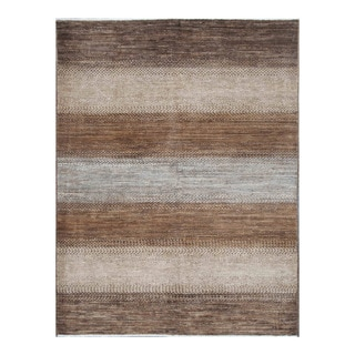 Herat Oriental Afghan Hand-knotted Tribal Vegetable Dye Gabbeh Gray/ Brown Wool Rug (5' x 6'7)