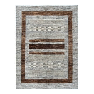 Herat Oriental Afghan Hand-knotted Tribal Vegetable Dye Gabbeh Gray/ Brown Wool Rug (4'8 x 6'3)