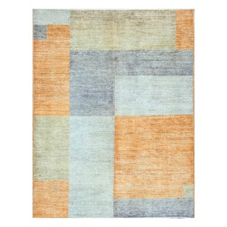 Herat Oriental Afghan Hand-knotted Tribal Vegetable Dye Gabbeh Blue/ Orange Wool Rug (5'1 x 6'7)