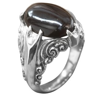Handcrafted Sterling Silver 'Dark Surf' Onyx Ring (Indonesia)