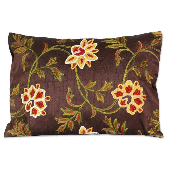 Handmade Embroidered 'Chocolate Geraniums' Cushion Cover (India)