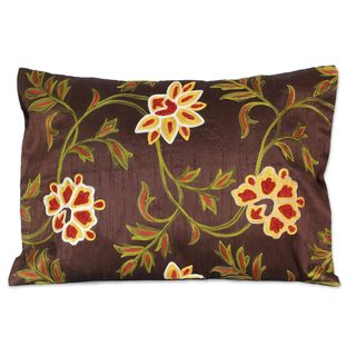 Handmade Embroidered 'Chocolate Geraniums' Cushion Cover (India)
