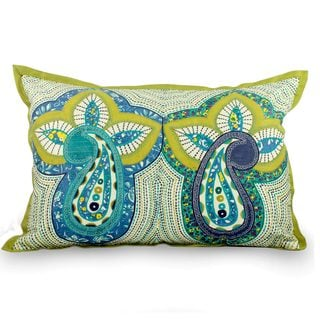 Handcrafted Embellished 'Paisley Morn' Cushion Cover (India)