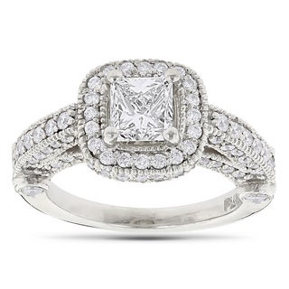 Luxurman Platinum 2 1/0ct TDW Princess-cut and Round Diamond Halo Engagement Ring