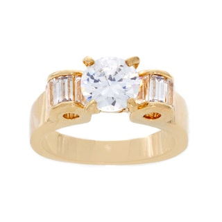 NEXTE Jewelry 14k Gold Overlay Round and Baguette Cubic Zirconia Ring