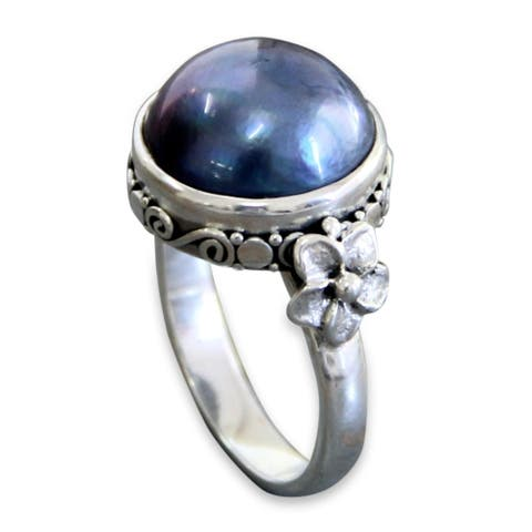 Handmade Sterling Silver Blue Moon Pearl Ring (13 mm) (Indonesia)