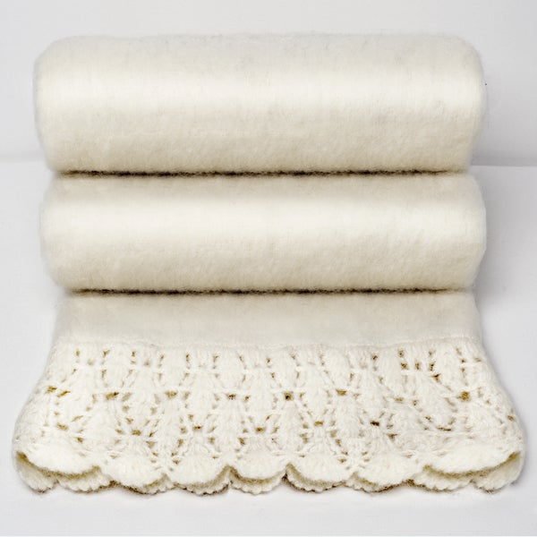 Chauran Karina Ivory Handloom Mohair Throw with Crochet Border