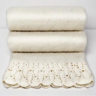 Chauran Karina Ivory Handloom Mohair Throw with Crochet Border