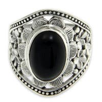 Handmade Sterling Silver 'Frangipani Mystery' Onyx Ring (Indonesia)