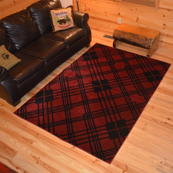 shop lodge plaid scottsdale red area rug 7 39 10x9 39 10 free shipping today. Black Bedroom Furniture Sets. Home Design Ideas