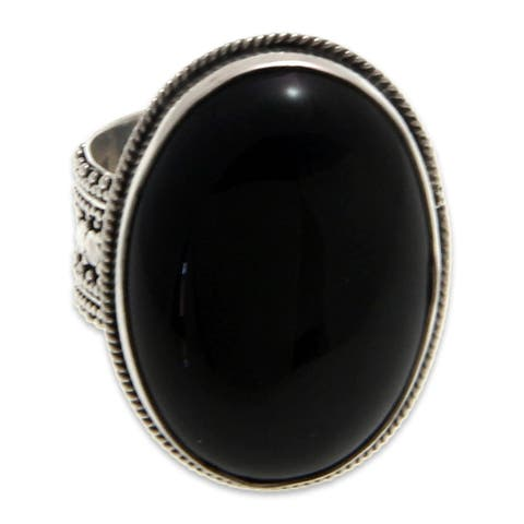 Handmade Sterling Silver 'Oracle' Onyx Ring (Indonesia)