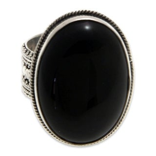 Link to Handmade Sterling Silver 'Oracle' Onyx Ring (Indonesia) Similar Items in Rings