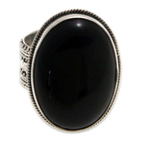 Handmade Sterling Silver 'Oracle' Onyx Ring (Indonesia). Opens flyout.