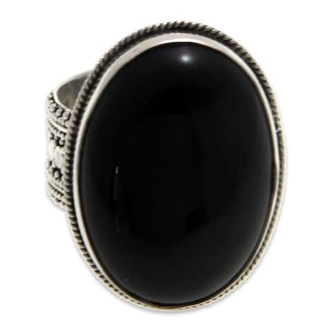 NOVICA Handmade Sterling Silver 'Oracle' Onyx Ring (Indonesia)