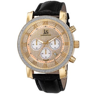 Joshua & Sons Men's Diamond Chronograph Leather Black Strap Watch - GOLD