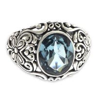 Handmade Sterling Silver 'Mythical Oasis' Topaz Ring (Indonesia)