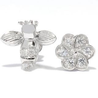 Platinum overSilver White Zircon Flower and Bee Stud Earrings