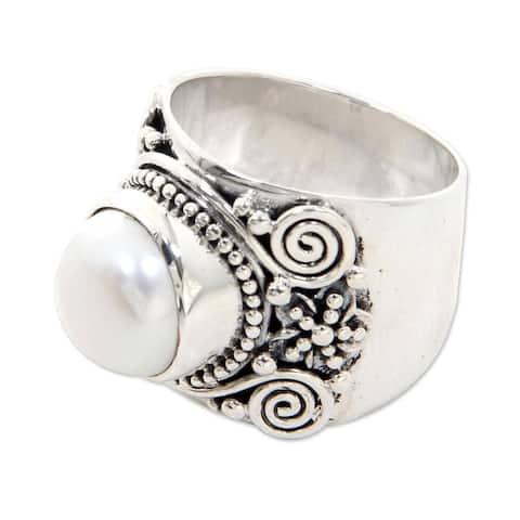 NOVICA Handmade Frangipani Freshwater Pearl Ring (Indonesia) - White