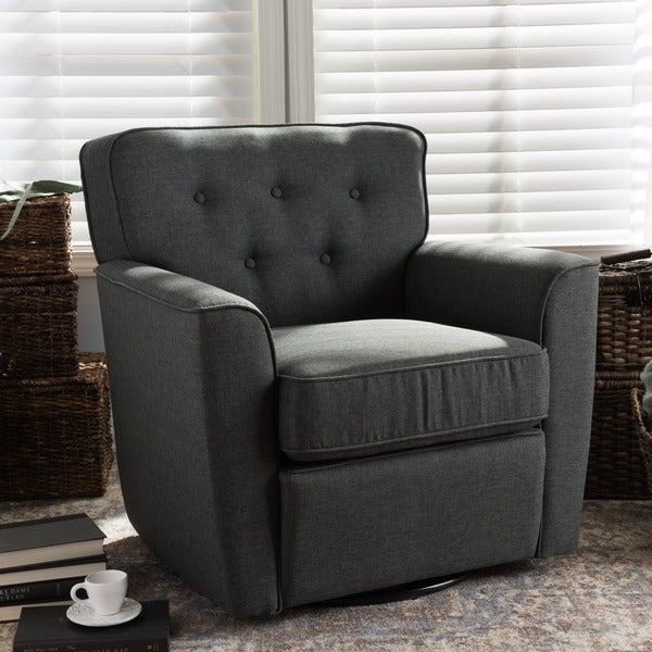 Baxton Studio Canberra Contemporary Grey Tufted Swivel Armchair