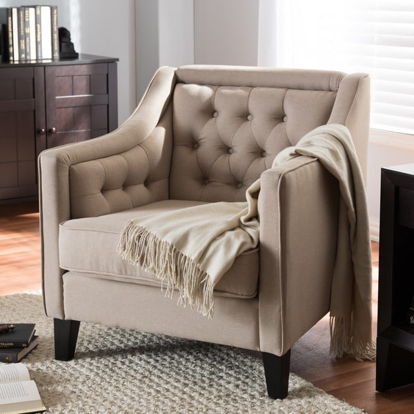 Superbe Vienna Classic Retro Modern Contemporary Beige Fabric Upholstered Button Tufted  Armchair