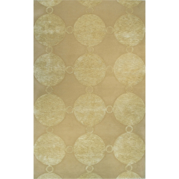 Hand-tufted Marceline Gold Wool and Artificial Silk Area Rug - 5' x 8'