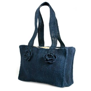 Handmade Maguey Fiber 'Blue Maya Rose' Shoulder Bag (Guatemala)