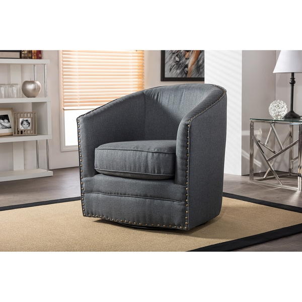 swivel tub upholstered chair fabric gray grey porter contemporary chairs baxton overstock