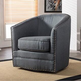 Attirant Baxton Studio Porter Contemporary Grey Fabric Upholstered Swivel Tub Chair