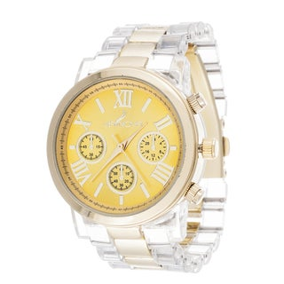Via Nova Women's Gold Case Yellow Dial with Clear Plastic Watch