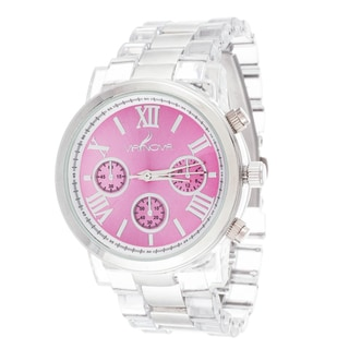 Via Nova Women's Silver Case Pink Dial with Clear Plastic Watch
