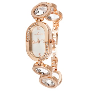Via Nova Women's Rose Oval Case / Rose with Stones Strap Watch