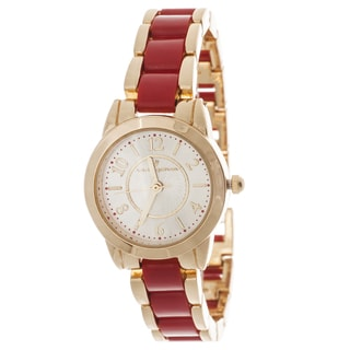 Via Nova Women's Gold Case / Red & Gold Strap Watch