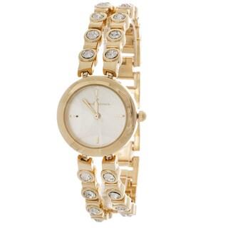 Via Nova CZ Women's Gold Round Case / Gold with Stones Strap Watch