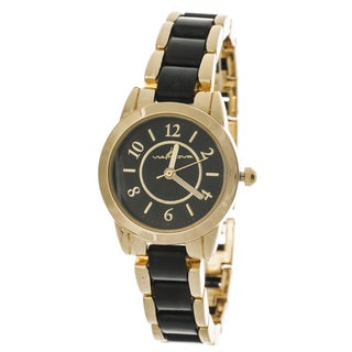 Via Nova Women's Gold Case / Black & Gold Strap Watch