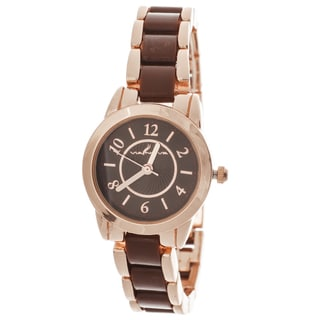 Via Nova Women's Rose Case / Brown & Rose Strap Watch
