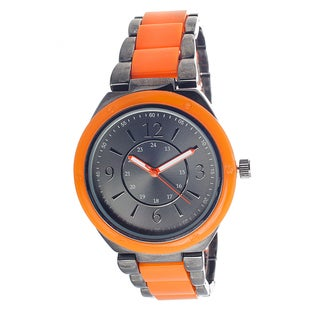 Xtreme Boyfriend Women's Gun Metal Case / Orange Strap Watch