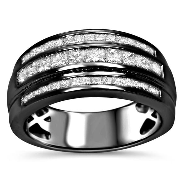 Noori 14k Black Gold Mens 1ct TDW Princess Cut Certified Diamond Wedding Band