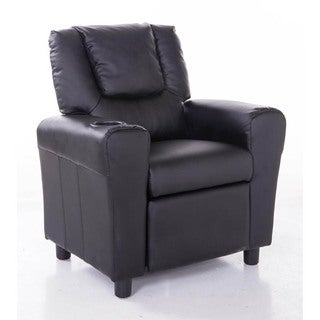 Comfortable KR2009BK PU Leather Kids Recliner with Cup Holder